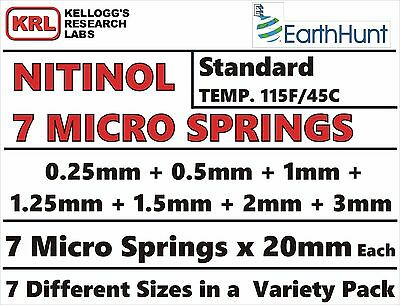 Uncut MICRO SPRINGS 7-Sizes 20mm Lab Pack#4 STANDARD TEMP 115f NITINOL .25mm-3mm