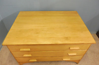 Antique 3 Drawer Sycamore And Pine Plan Chest