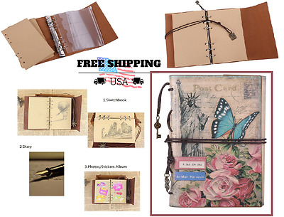 Organizer Leather Notebook Notepad Traveler Sketchbook Diary Refillable Planner