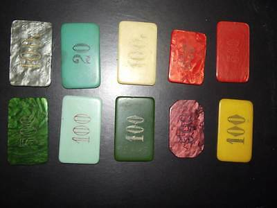 10 Vintage Little and Rectangular Galalith Poker Chips Marbled and non Marbled