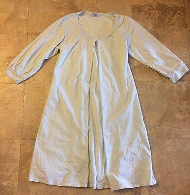 1 In The Oven Nursing Breastfeeding Maternity Night Gown Shirt Blue L GUC Cotton