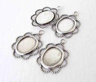 Filigree Cameo Setting Antiqued Silver Ox Lace Edge Dotted Bezel 10x8mm Cabochon