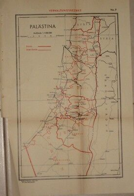 Judaica Old Palestine Map 1937 Administrative Districts