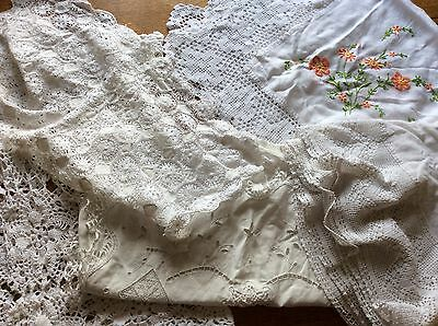 Vintage lace Table cloths linen embroidered mixed bundle lot