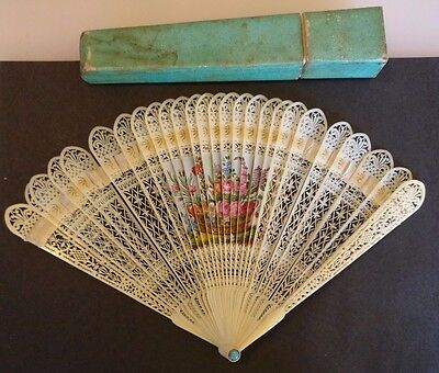 18th Century Hand Carved & Painted Brisé Fan - with original case