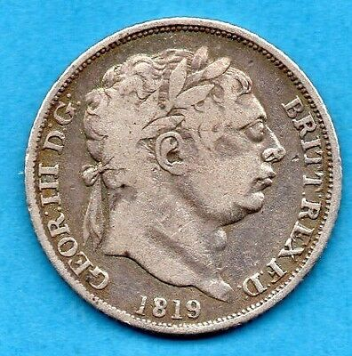 1819 SILVER SIXPENCE COIN. KING GEORGE III.   6d.  TANNER.