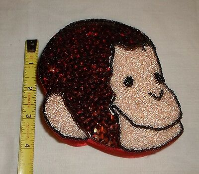 Curious George Red Satin Trinket Box Embellished W/Beads & Sequence