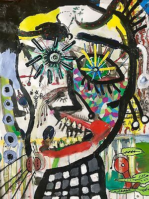 Indrek Paul Kostabi Classic Large Scale Highly Detailed  Colorful Painting Paper