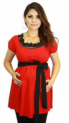 Short Sleeve Red Maternity Pregnant Clothing Black Lace Detachable Cloth Belt