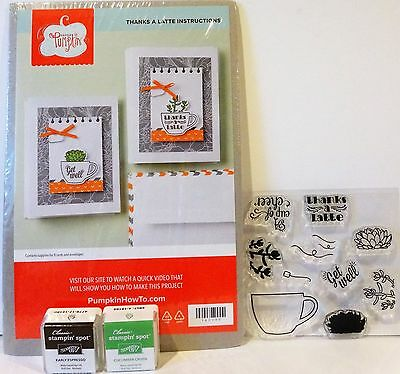 Stampin Up THANKS A LATTE Paper Pumpkin Kit NEW Coffee Stamps Ink July 2015 kit