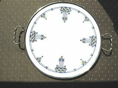 Antique Max Dannhorn round Porcelain Tray w/silver plated metal surrounding