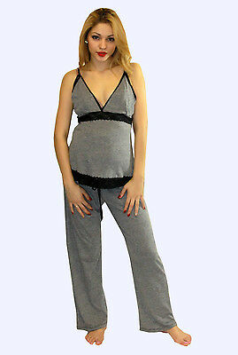 Gray Grey Maternity Nursing Pajama Night Gown Breastfeeding Set Lace S M L XL