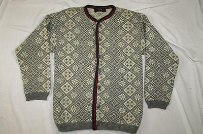 Vtg 60s Janus Made in Norway Cardigan Sweater 100% Pure Wool Nordic Scandinavian