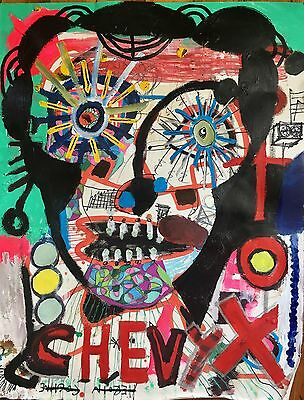 Indrek Paul Kostabi Large Scale Highly Detailed  Playful Edgy Painting Paper