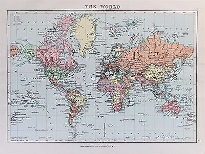 World Map Mercator Projection Antique-Vintage 1920 Colour Map by Stanford
