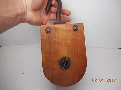 Vintage Wood & Iron Farm Pulley Antique Old Tools
