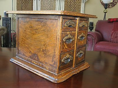 Antique 6 Drawer Striped Tiger Wood Sewing/Apothecary Box Sewing Machine Drawers