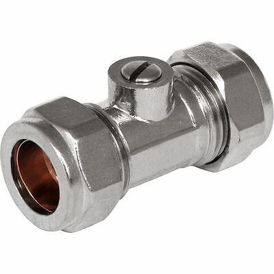 Isolation Valve 22mm Chrome Plated Compression Water Plumbing Isolator FREE DEL