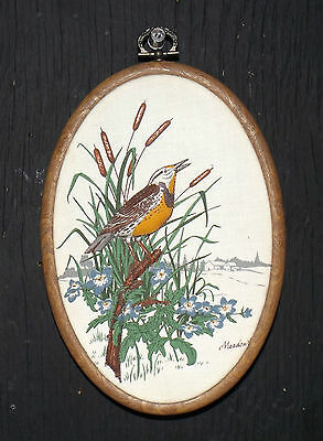 Embroidered Framed Raised Meadowlark Wall Hanging