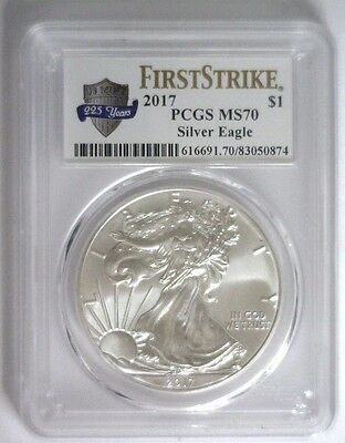 """2017 Silver Eagle ASE $1 ~ PCGS MS-70 FS """"225TH Ann US Mint"""" Label """"SHIPS NOW"""""""
