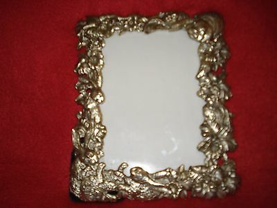 1995 Arthur Court Pewter Rabbit Picture Frame - Pewter Bunnies and Flowers
