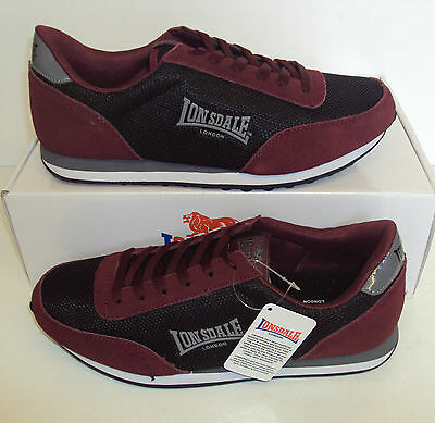 LONSDALE Men's Broughton Black Burgundy Casual Trainers Shoes New Sizes UK 7-12