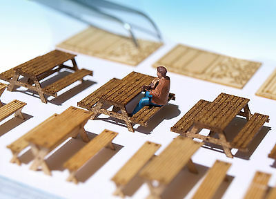 4 Miniature Picnic table bench KIT HO OO scale model camping diorama laser 1:87