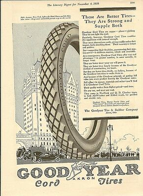 Goodyear Akron Cord Tires 1916 Literary Digest Ad