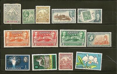 Barbados 13 Older Mint Hinged Stamps