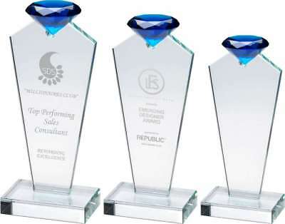 Clear Glass Column with blue 3D diamond in presentation box - engraved f.o.c.