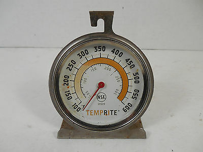 Vintage Temprite Nsf 59329 High Temp. 100-600 F Degree Oven Thermometer Gauge