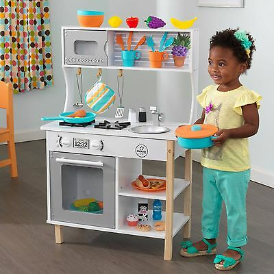 Kids Wooden Kitchen Play Set w 48 Accessories & Play Food Pretend Play