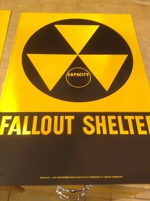 "VINTAGE 1960s ORIG FALLOUT SHELTER SIGN ALUM14""x20 Minor Defects"