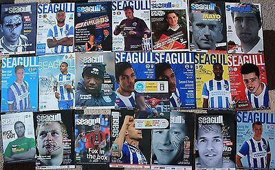 Bundle of BRIGHTON & HOVE ALBION FC Hand SIGNED Programme Covers/Cuttings x22