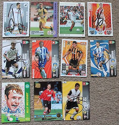 Bundle FOOTBALL Assorted Hand SIGNED Match Attax Panini Merlin Trade Cards x11