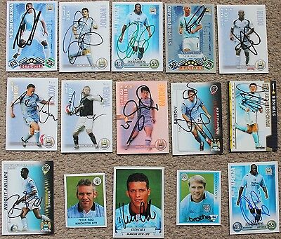 Bundle of MANCHESTER CITY FC Hand SIGNED Match Attax Shoot Out CARDS x15