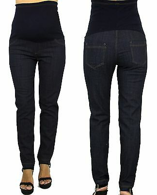 Blue Solid Maternity Skinny Relaxed boyfriend Jeans Faux Pockets