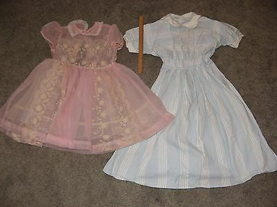 2 ADORABLE CHILD'S VINTAGE1950's BLUE/White Stripe & Sheer Pink Dresses