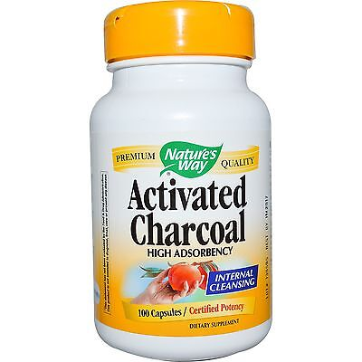 ACTIVATED CHARCOAL BY NATURE'S WAY DETOX BINDER ADSORBENT 100 CAPSULES x 560 mg