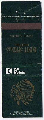 Banff Alberta Matchbook Cover Canadian Pacific Banff Springs Hotel Indian Head