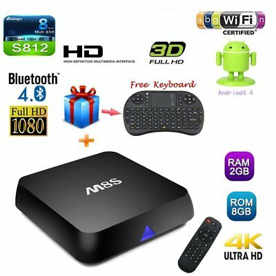 Quality Black 4K M8s Quad Core Android Smart TV Box Fully Loaded + Free Keyboard