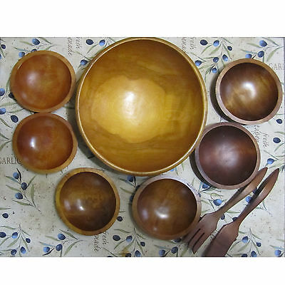 Baribocraft vintage wooden salad bowls with spoons 9pc set Made in Canada