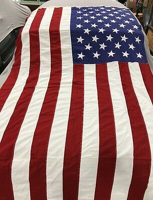 Vintage 5x9.5 ft 50 Star US FLAG Valley Forge Co. SEWN STARS/STRIPES Cotton Mint