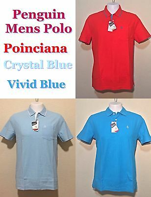 Original Penguin Mens Polo Poinciana, Crystal Blue, Vivid Blue in S, M, L $59