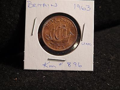 Uk (Great Britain):  1963   Half Penny  Coin    (Unc.)   (#230)  Km # 896