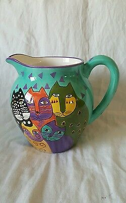 Vintage Colorful 1998 Signed Laurel Burch Fun 5 Kitty Cat Ceramic Pitcher