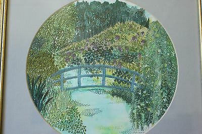 Very pretty Hand Embroidery, Framed, Garden & Wisteria.