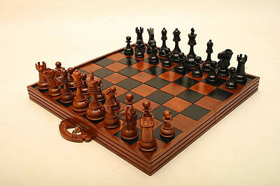 20cm Teak Chess Pieces Storage Case and Folding Board (Pieces Not Included)