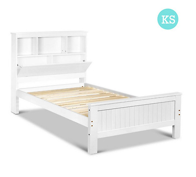 King Single Wooden Bedframe with Storage Shelves - White Bed