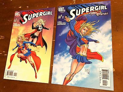 SUPERGIRL #2 & #5 (2005) DC lot of 2 Michael Turner variant covers 1st Print NM
